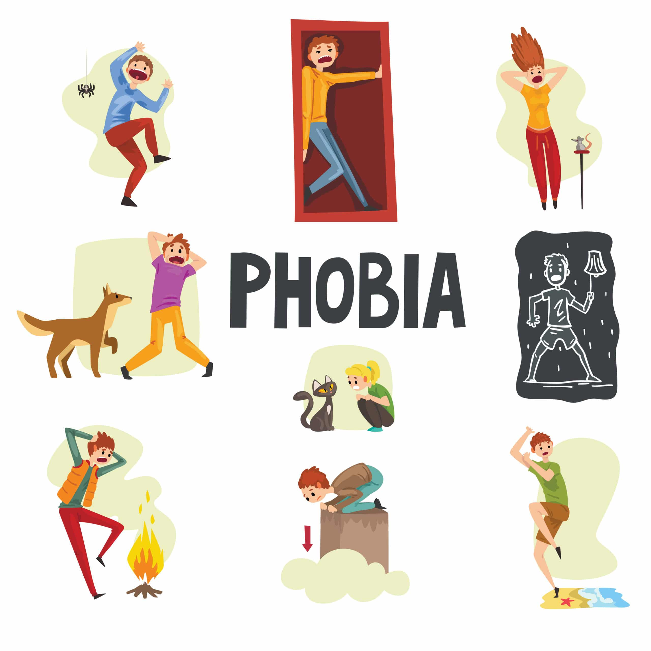 illustrations of people suffering from various phobias