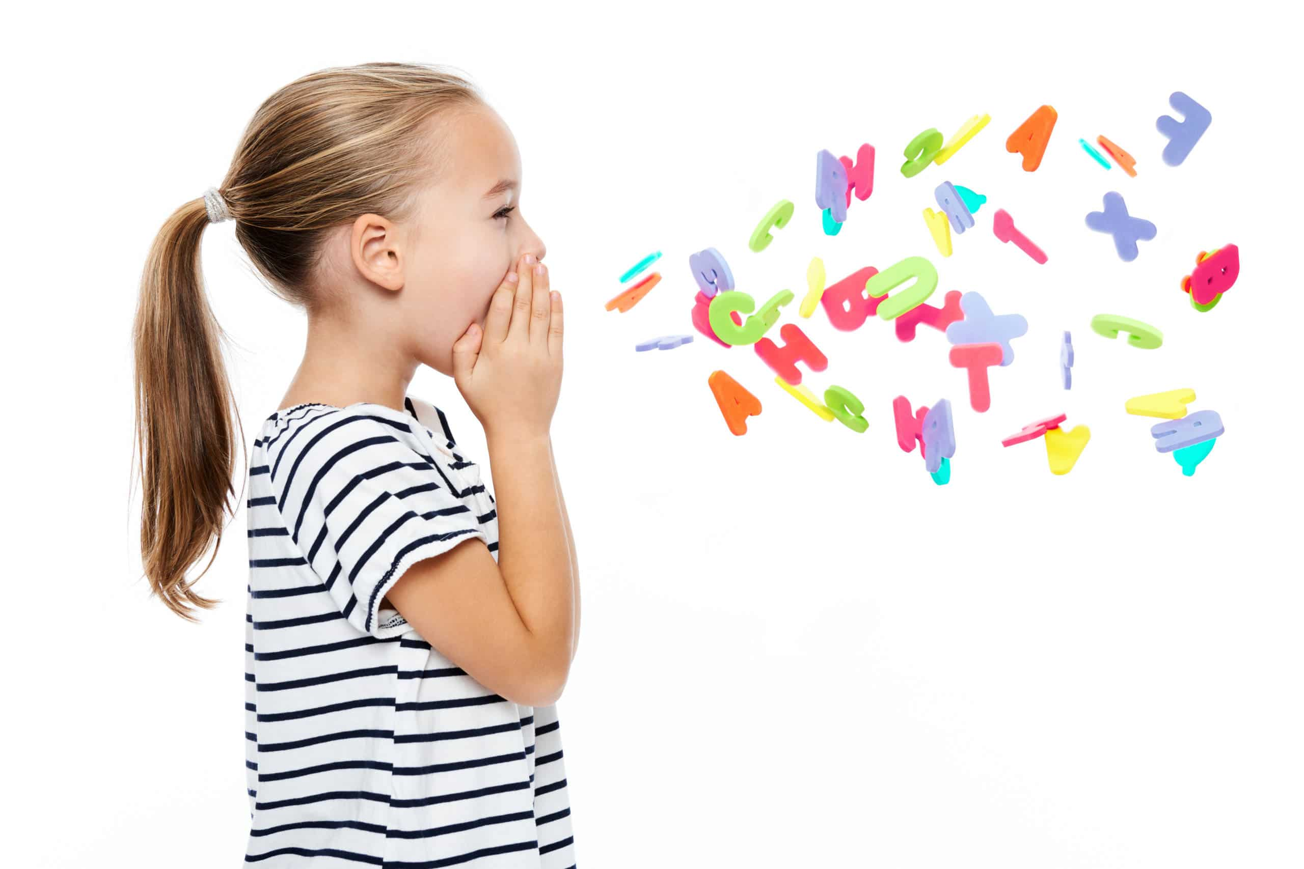 speech disorder image young girl with letters of the alphabet